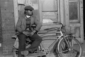 CHICAGO: MAN, 1941. Portrait of an African American man in front of a storefront