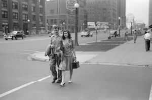 CHICAGO: COUPLE, 1941. A young couple on Michigan Avenue in Chicago, Illinois