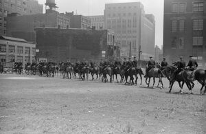 CHICAGO: MOUNTED POLICE. Mounted police in Chicago, Illinois. Photograph by John Vachon