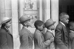 CHICAGO: MOVIE THEATER. Children lined up to see the Easter Sunday matinee at a