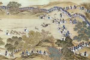 Ch'ien Lung, Qing emperor of China (1736-1796), on a deer hunt. Painted silk scroll