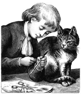 CHILD AND PET, 19th CENT. /nLine engraving, American, late 19th century.