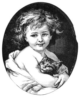 CHILD & PET, 19th CENTURY. /nWood engraving, American, 19th century.