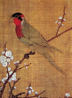 Detail from 'Five Colored Parakeet on Blossoming Apricot Tree,' a painted