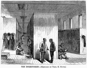 CHINESE IMMIGRANTS, 1870. Dormitories for workers at a Chinese shoe factory in North Adams