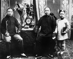 CHINESE IMMIGRANTS, c1890. A portrait of Chinese immigrants in San Francisco, California