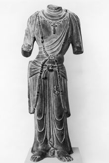 Chinese limestone sculpture of a bodhisattva, Tang dynasty, early 8th century.