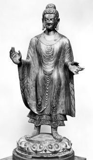 Chinese Northern Wei (386-557 A.D.) gilt bronze standing figure of Buddha standing