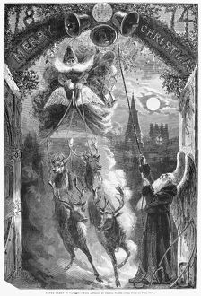 CHRISTMAS, 1874. 'Santa Claus is coming!' Engraving from a design by Thomas Worth