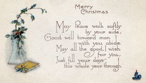 CHRISTMAS CARD. American Christmas card. Illustrated, late 19th century