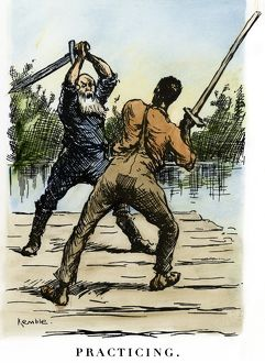 CLEMENS: HUCK FINN, 1885. 'Practicing.' The king and the duke, a pair of con men