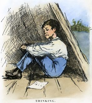 CLEMENS: HUCK FINN, 1885. 'Thinking.' Drawing by Edward Windsor Kemble for