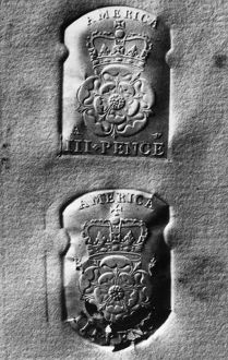 COLONIAL TAX STAMP. Three pence tax stamps issued by British government for use