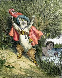 cats/color engraving 1862 edition perrault fairy tale