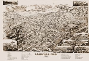 COLORADO: LEADVILLE, 1882. Bird's eye view of Leadville, Colorado, population 16,000
