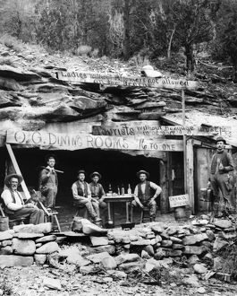 COLORADO: MINERS, 1897. Miners of the Cottonwood Placer Company seated outside
