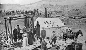 COLORADO: MINERS, c1890. Miners with family members at the Hillside Mine near Cripple