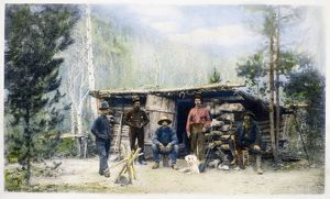 COLORADO: MINERS. Miners at a camp in Colorado. Oil over a photograph, late 19th century