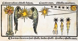 astronomy/comet 1496 different forms comets colored woodcut