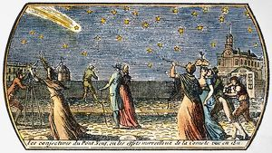 COMET OF 1812. Seen from the Pont Neuf in Paris. Contemporary French colored engraving.