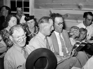 COMMUNITY SING, 1940. At an all-day community sing at Pie Town, New Mexico. Photograph