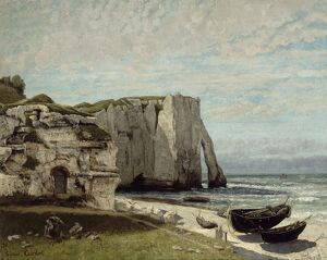 COURBET: ETRETAT CLIFFS. 'The Etretat Cliffs after the Storm.' Oil on canvas