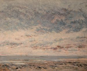 COURBET: LOW TIDE, 1865. 'Low Tide at Trouville.' Oil on canvas, Gustave Courbet