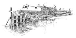 CRAMP'S SHIPYARD. The cruiser 'Minneapolis' in the stocks, and a keel