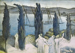 CROSS: CYPRESSES, 1896. Gouache drawing by Henri-Edmond Cross, 1896.
