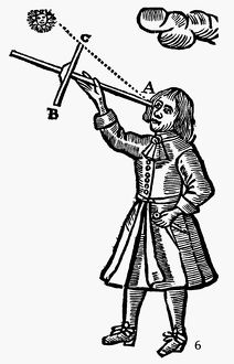 CROSS-STAFF, 1669. A mariner sighting on the sun with a cross-staff, the navigational
