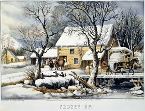 CURRIER & IVES WINTER SCENE. 'Frozen Up.' Lithograph, 1872, by Currier & Ives.