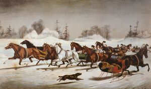 CURRIER & IVES WINTER SCENE. ''Trotting Cracks' on the Snow': lithograph