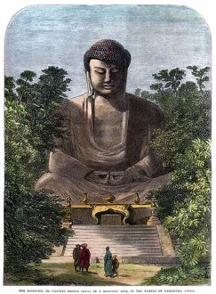 'The Daibutsu, or colossal bronze image of a Buddhist idol, in the temple of Kamakura, Japan