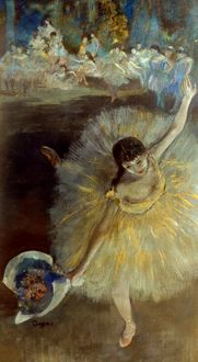 DEGAS: ARABESQUE, 1876-77. Edgar Degas: The end of the arabesque. Pastel on canvas