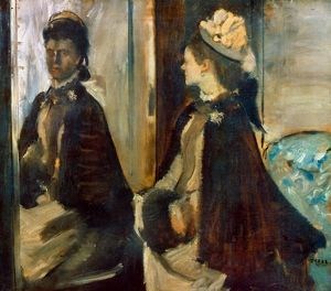 DEGAS: MME JEANTAUD, 1875. Edgar Degas: Madame Jeantaud at the Mirror. Oil on canvas