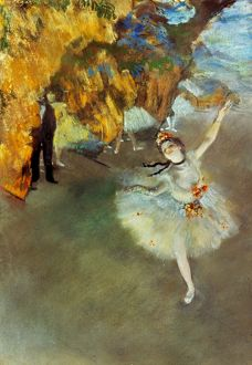 DEGAS: STAR, 1876-77. Edgar Degas: The Star or The Dancer on Stage. Pastel on paper