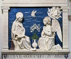 angels/della robbia annunciation glazed ceramic relief