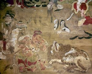 A demon and lion grieve at the death of the Buddha. Japanese silk painting, 1086.
