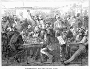 bars taverns saloons/discussing franco prussian war german beer saloon