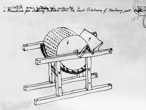 Drawing by Thomas Jefferson of the corn shelling machine he owned, which was invented