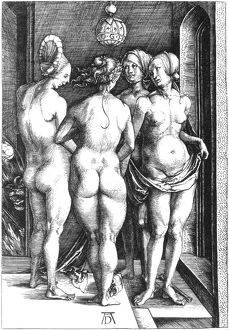 DURER: FOUR WITCHES, 1497. The Four Witches. Line engraving, 1497, by Albrecht Durer.