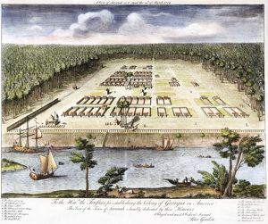 EARLIEST VIEW OF SAVANNAH. The earliest known view of Savannah, Georgia. Line engraving