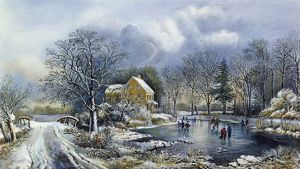 EARLY WINTER, 1869. Lithograph, 1869, by Currier & Ives.