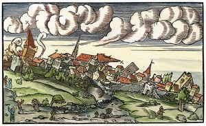EARTHQUAKE, 1550. The aftermath of an earthquake. Woodcut, 1550