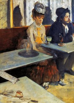 Edgar Degas: At the Cafe, or The Absinthe Drinker. Oil on canvas, 1873.