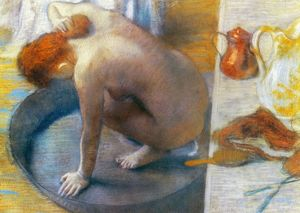 EDGAR DEGAS: THE TUB, 1886. Pastel on cardboard, 1886, by Edgar Degas.