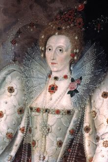 ELIZABETH I OF ENGLAND. Canvas, c1592, by Marcus Gheeraerts the Younger
