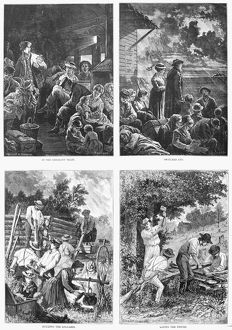EMIGRANT LIFE, 1874. 'Scenes from emigrant life.' Engraving, 1874