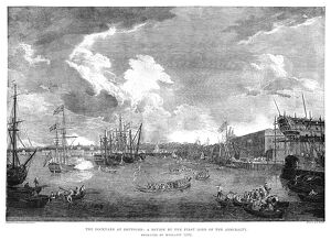 ENGLAND: NAVAL REVIEW, 1775. 'The Dockyard at Deptford: A Review by the First Lord