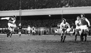 ENGLAND: SOCCER GAME, 1972. Alan Ball of Arsenal FC scores a goal against Norwich City FC